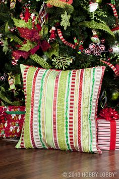 Pretty up your pillows with ribbons in holiday hues!
