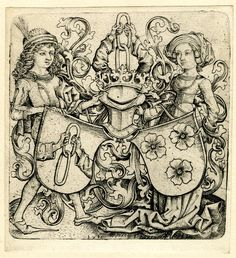 1480 The coats of arms of Rohrbach and Holzhausen; a young man is standing to the left, holding a shield which contains the arms of the Rohrbach family; opposite him stands a woman, carrying the arms of the Holzhausen family. c. 1480 Modern impression. c. 1856 Engraving