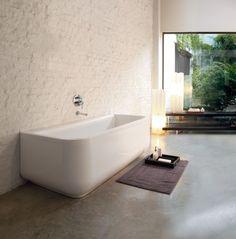 Laufen tub and gorgeous whitewashed brick wall