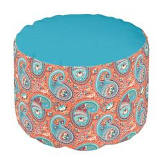 Paisley Pattern Renaissance Teal Orange Pouf - home gifts ideas decor special unique custom individual customized individualized
