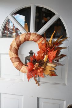 Fall Wreath Straw Wreath Pumpkin Wreath by YourLifeRepurposed Craft Projects, Projects To Try, Straw Wreath, Pumpkin Wreath, Fall Diy, Fall Wreaths, How To Make Wreaths, Pine Cones, Etsy Seller