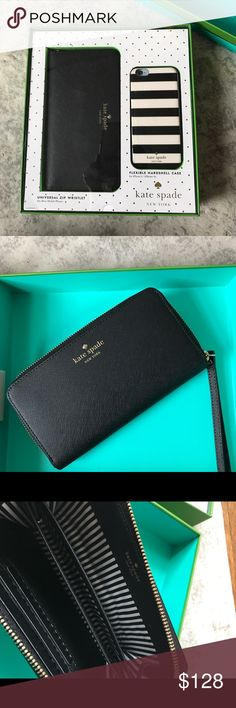 Kate Spade Phone and Wallet Wristlet Gift Set Gift set includes the KS universal zip wristlet in a beautiful black leather with gold plated hardware.  Wristlet fits most mobile phones.  Flexible hard shell case with classic Kate Spade black and white stripes.  Fits an iPhone 6/ iPhone 6s kate spade Bags Clutches & Wristlets