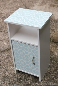Such a pretty bedside table with the Chez Ali Moroccan stencil pattern! Created by Erin of the DIY on the Cheap blog www.RoyalDesignStudio.com