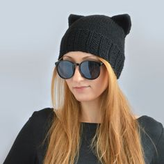 Black Cat Hat Knit Cat Ear Hat or Cat Beanie by SlouchyBeanie