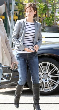 Emma Watson-I love the whole outfit I just with the shirt was black with small white stripes instead.