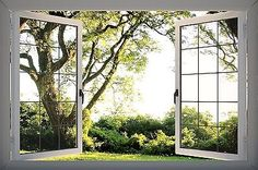 3D PVC Window View Wall Sticker Nature Garden Tree Sticker Mural Vinyl GA19-226