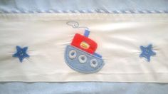 Baby Cot Sheet:  Vintage Linen - Nautical boat theme with appliqué and piping by TheBusyTipsyGipsy on Etsy