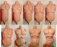 Art Technique - Sculpting the Human Male Torso With Polymer Clay Polymer Clay Dolls, Polymer Clay Projects, Clay Crafts, Sculpting Tutorials, Clay Tutorials, Clay Figures, Sculpture Clay, Sculptures, Doll Tutorial