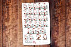 Santa Christmas Countdown Stickers 25 Days of by BellaRosePaperCo #Christmas #ErinCondren #PlannerAddict #ChristmasCountdown