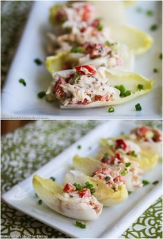 Endive Stuffed With Old Bay Crab Salad - this is an elegant and easy holiday appetizer that will WOW your guests! #cocktailpartyfood #fcpinpartners via @jeanetteshealth
