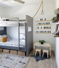 I really love every single thing about this room by The oversized message board The hanging ceiling light The little work station Decor Style Home Decor Style Decor Tips Maintenance Boy And Girl Shared Room, Shared Boys Rooms, Shared Bedrooms, Bunk Beds For Boys Room, Big Boy Bedrooms, Kids Bedroom, Boy Rooms, Beddys Bedding, Bohemian Living Rooms
