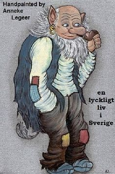 """"""" En lyckligt liv i Sverige """" , handpainted by Anneke Legeer,  the Netherlands,  inspired by Rolf Lidberg.  Weert  2008."""
