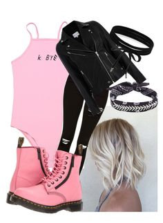 """""""K Bye"""" by bethisaweeb ❤ liked on Polyvore featuring Topshop, Dr. Martens, Fallon and Boohoo"""