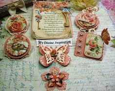 Secret Garden Scrapbook Embellishments, Paper Embellishments, Paper Flowers for Scrapbooking Layouts, Cards, Mini Albums Paper Crafts