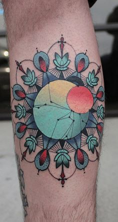 Mandala - Cody Eich (I really like this artist's palette)  #CodyEich #mandala #tattoo