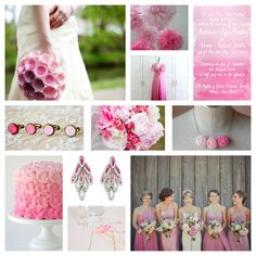 Gorgeous ombre pink wedding inspiration board, exclusively curated by www.paperangeldesigns.com