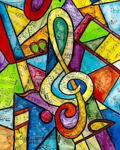 """""""Yellow G Clef"""" large archival print by SusanGiannantonio."""