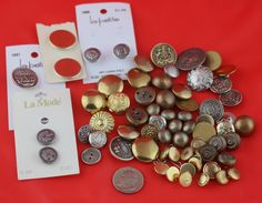 Vintage Silver and Gold Colored Buttons, Vintage Buttons, Metal Buttons, Assorted Buttons, Craft Buttons, Sewing Buttons,  Shank Buttons by SecondActShop on Etsy