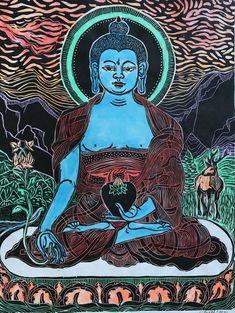 Medicine Buddha with stag mokuhanga woodblock Healing Buddhism Wallpaper, Religious Images, Hindu Art, Buddhist Art, Woodblock Print, Buddha, Illustration Art, Canyon Colorado, Medicine