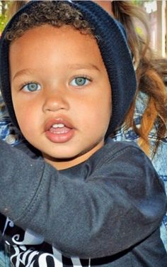 adorable, african, baby, black, blonde, blue eyes, boy, curly hair, cute, ethnicity, face, fashion, lips, mixed race, style, white