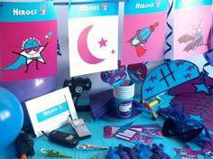 CAJA TEMÁTICA DE HEROES - Todo lo que necesitas para la decoración de tu fiesta infantil o cumpleaños temático: guirnaldas, globos, caretas, medallas, vasos personalizados, pajitas, manteles, … y mucho más. ¡¡Celebra tu cumpleaños infantil personalizado más original y divertido!! $40.80