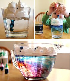 make rain clouds in your kitchen and other color mixing activities Science Activities For Kids, Science Experiments Kids, Teaching Science, Science Projects, Preschool Activities, Projects For Kids, Crafts For Kids, Science Fun, Science Ideas