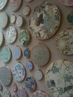 Beautiful wall art using fabrics and embroidery rings