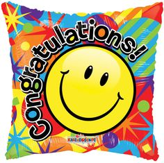 """Included in this bouquet: 7 Balloons Total 1 - 18"""" """"Congratulations!"""" Smiley Square Balloon 1 - 18"""" Yellow Dots on Clear Square Balloon 5 - 12"""" Mixed Latex Balloons (Blue, Rose, Orange, Red, Lime Gree"""
