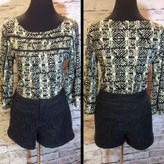 SZ 8 ONE 5 ONE BLACK LACE SHORTS Gorgeous black lace shorts with front and back pockets. Wear with tight and boots for fall and winter. Like new One 5 One Shorts