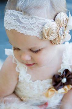 Vintage Headband/Child Headband /baby Girl Headband /Headband/ivory/flower girl /champagne wedding /birthday /photo prop. $14.95, via Etsy.