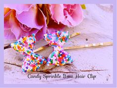 Sprinkle Bow Hair Bobby Pins Delish  Sprinkle  Bow by tranquilityy