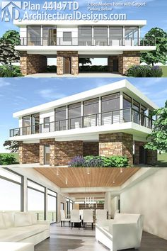 Modern House Plans : Architectural Designs Modern House Plan gives you an open floor plan 2 Stilt House Plans, House On Stilts, Beach House Plans, House Floor Plans, Contemporary House Plans, Modern House Plans, Modern House Design, Modern Carport, Casas Containers