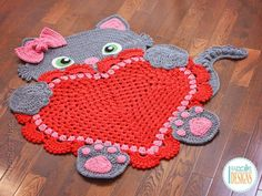 FORMAT: PDF, 24 pages, 10.2 MB (mobile devices friendly). Language - English. The pattern is written row-by-row using US crochet terms. It also includes many diagrams, step-by-step photos, and a conversion chart to UK terms. Easy to follow. Using this pattern you can make a kitty rug or a heart doily rug.SKILLS: Chain, slip stitch, single crochet, half double crochet, double crochet, picot, shell, popcorn, crab stitch, granny square technique, blocking, working in rows and in the round…