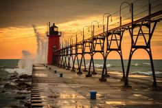 South Haven Lighthouse.  South Haven, MI.An image of maritime heritage, South Haven's Lighthouse on the south pier still stands today as a vision of seemingly magical qualities. Built in 1903. One of the many lighthouses I have been to.