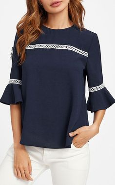 moda e ideas Blouse Styles, Blouse Designs, Sleeves Designs For Dresses, Blouses For Women, Fashion Dresses, Clothes, Tops, Tunic Pattern, Blue Striped Shirts