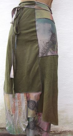Eco Upcycled Long Wrap Skirt Forest Green by RebirthRecycling