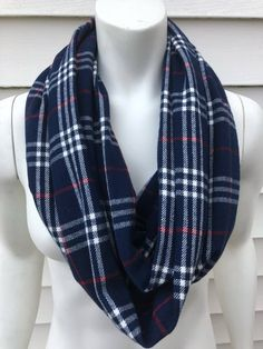Plaid Infinity Scarf-Women's Handmade Fall Flannel Scarf-Accessories Gifts For Her-Washington Wizard Tartan Blanket Scarf, Plaid Infinity Scarf, Chunky Scarves, Blue Scarves, Navy Blue Scarf, Autumn Winter Fashion, Fall Fashion, Plaid Flannel, Womens Scarves