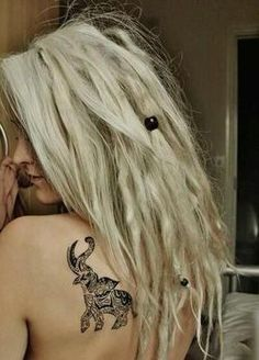 girl beautiful hippie indie elephant tattoo blonde punk ink long hair Alternative dreads