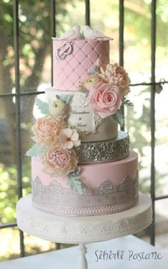 Silver and Pink Wedding Cake by Sihirli Pastane Amazing Wedding Cakes, White Wedding Cakes, Gorgeous Cakes, Pretty Cakes, Cupcakes, Cupcake Cakes, Wedding Anniversary Cakes, Quinceanera Cakes, Elegant Cakes