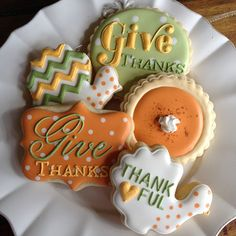 Thanksgiving Cookies~ bambellacookies, via Flickr, Orange, green, yellow, Turkey, pumpkin pie, looks dot, chevron, plaque, round