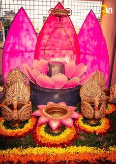 Home Wedding Decorations, Diwali Decorations, Stage Decorations, Festival Decorations, Flower Decorations, Ganpati Decoration Design, Mandir Decoration, Ganapati Decoration, Ganesh Chaturthi Decoration