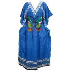 2e49567d23e Mogulinterior Womens Kaftan Dress Blue Butterfly Printed Long Maxi Beach  Coverup Beach Kaftan
