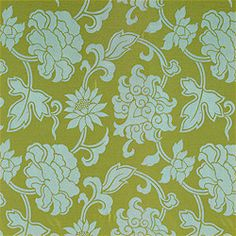 PatternHarmony Damask Woven –Woven  CollectionTea House  ColorwayGreen and Aqua  SKUW75383