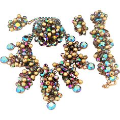 This vintage Juliana necklace, bracelet brooch and earrings with rhinestones, dangles and beads includes the biggest DE bib I have ever seen and the