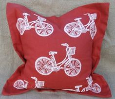 Lowcountry Bicycle - White on Salmon Linen Pillow
