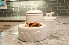 New Modern Woof Ceramic Food Bowl and Treat Jars at 3 Shades of Dog... Swoon...