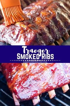 Easy Smoked Ribs prepared on your Traeger! This recipe results in fall off the bones ribs and its an easy recipe perfect for everyone! # Easy Recipes pork Smoked Ribs Method} - Gimme Some Grilling ® Traeger Recipes, Rib Recipes, Barbecue Recipes, Grilling Recipes, Traeger Bbq, Grilling Ideas, Game Recipes, Smoker Cooking, Grilling