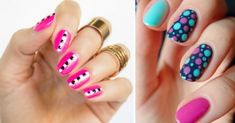 35 Fun and creative designs to wear nails with dots Nailart, Fun Nails, Creative Design, Dots, Turquoise, Beauty, Halloween, Google, Enamels
