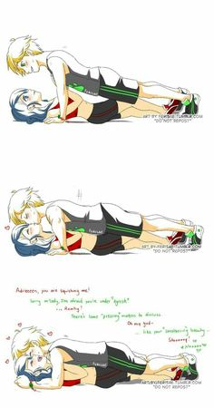 Marinette and Adrien's romantic moment with a kiss in their exercising from Miraculous Ladybug and Cat Noir Adrian And Marinette, Marinette And Adrien, Ladybug E Catnoir, Ladybug Comics, Lady Bug, Raising Kittens, Photo Manga, Catty Noir, Miraculous Ladybug Fan Art