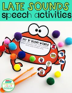 These fun and interactive late sounds for speech therapy are an engaging way to get a lot of practice in. Focusing on later developing sounds including clusters and blends, these are great for hands-on therapy. Speech Therapy Autism, Speech Delay, Speech Language Therapy, Speech And Language, Language School, Speech Therapy Activities, Language Activities, Craft Activities, Phonological Processes